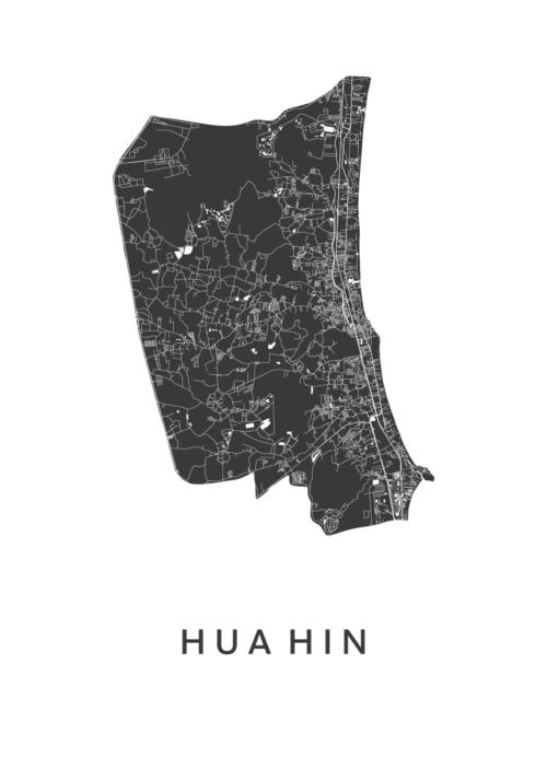 Hua Hin White Stadskaart Poster | Kunst in Kaart