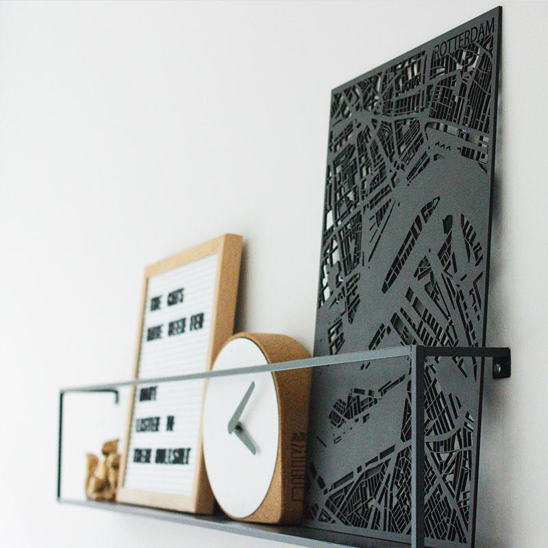 Zwarte stadskaart - gelaserd Planqkaart