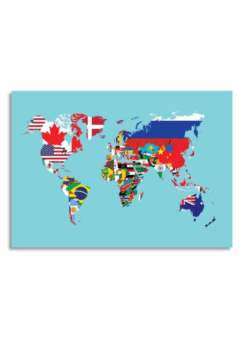 Wereldkaart met landvlaggen - Blauw - Poster