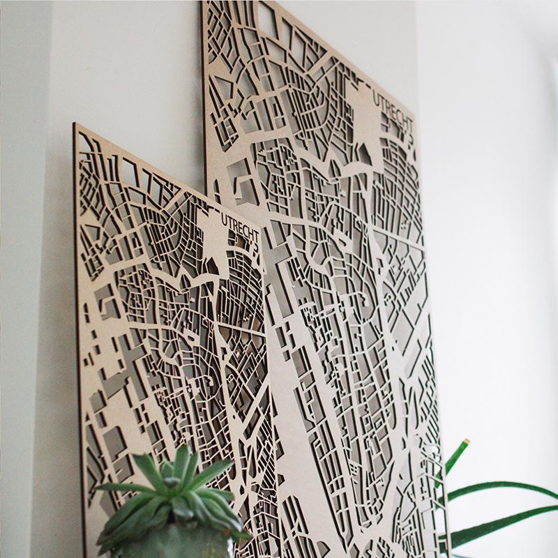 50 x 70 cm stadskaart - gelaserd Planqkaart