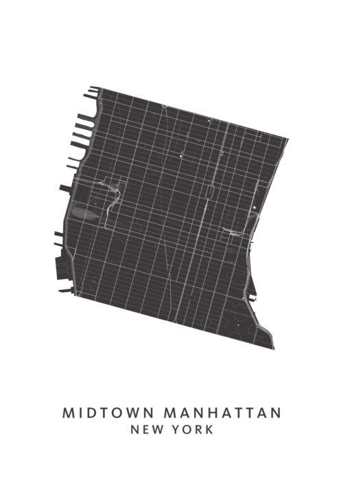 New York - Midtown Manhattan - Wijkkaart - wit