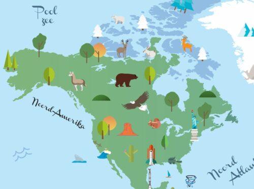 Wereldkaart voor kinderen - Noord-Amerika