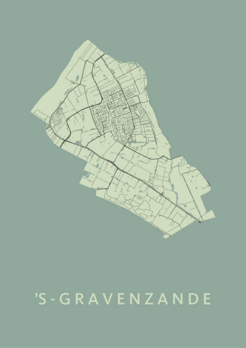 's-Gravenzande Olive Stadskaart Poster   Kunst in Kaart