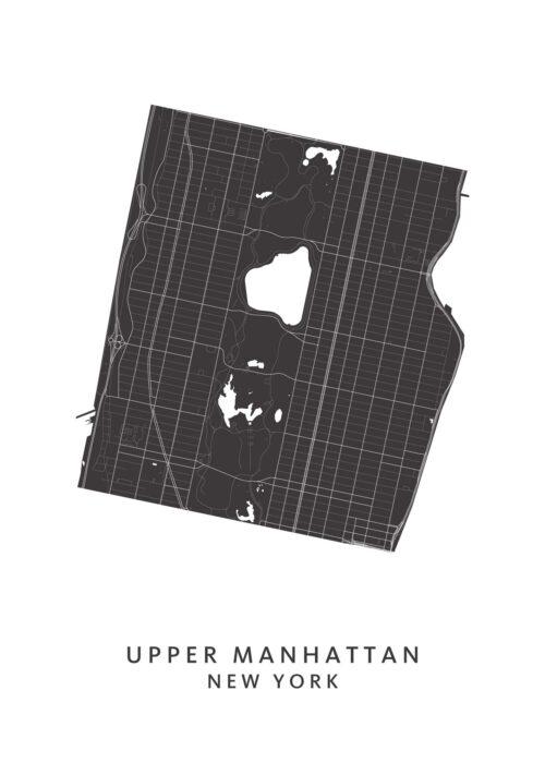 New York - Upper Manhattan - Wijkkaart - wit