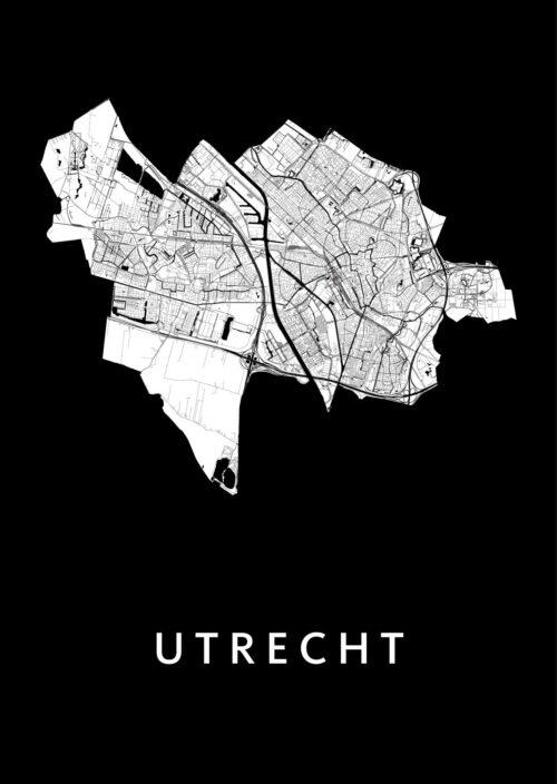 Utrecht Stadskaart Poster - Zwart Wit