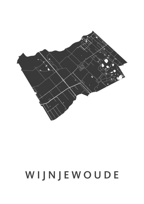 Wijnjewoude White Stadskaart Poster | Kunst in Kaart