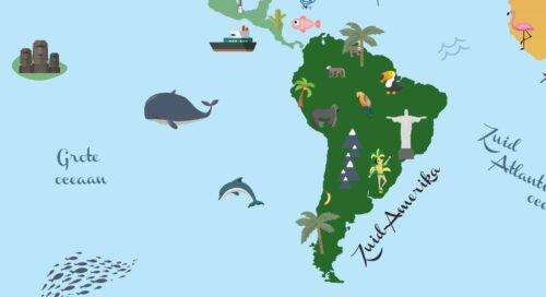 Wereldkaart voor kinderen - Zuid-Amerika
